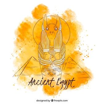 Aquarelle ancienne composition d'égypte