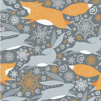 Aquarelle animal floral leaves seamless pattern