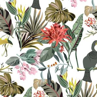 Aquarelle animaux feuilles florales sans soudure de fond