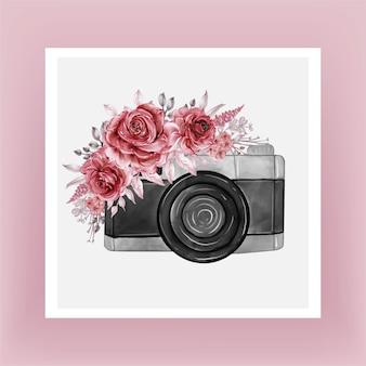 Aquarelle de l'appareil photo avec des fleurs bordeaux