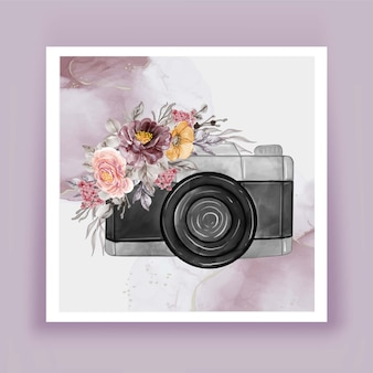 Aquarelle de l'appareil photo avec des fleurs rose pourpre
