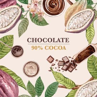 Aquarelle d'arbres de branche de cacao au chocolat avec barre de chocolat, illustration
