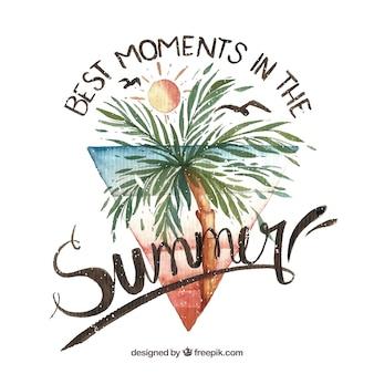 Aquarelle arrière-plan d'été avec une phrase inspirante