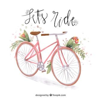 Aquarelle arrière-plan vélo vintage
