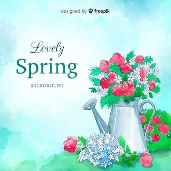 Aquarelle arrosoir printemps fond