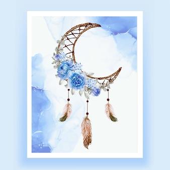 Aquarelle attrape-rêves fleur bleu plume