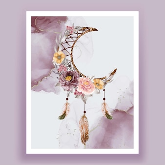 Aquarelle attrape-rêves fleur pourpre rose plume