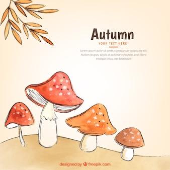 Aquarelle à l'automne avec des champignons