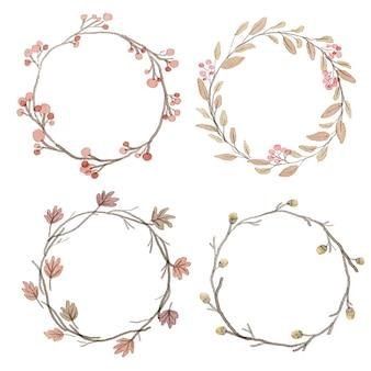 Aquarelle, automne, feuilles, cadre, couronne, couronne