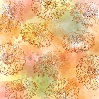 Aquarelle automne fond pastel avec des marguerites