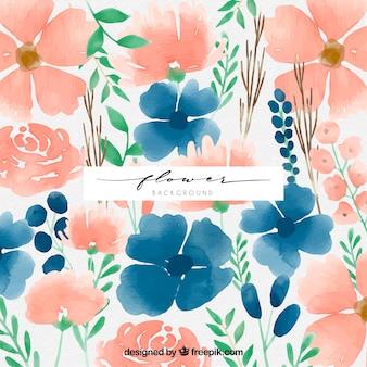 Aquarelle backgorund avec des fleurs modernes