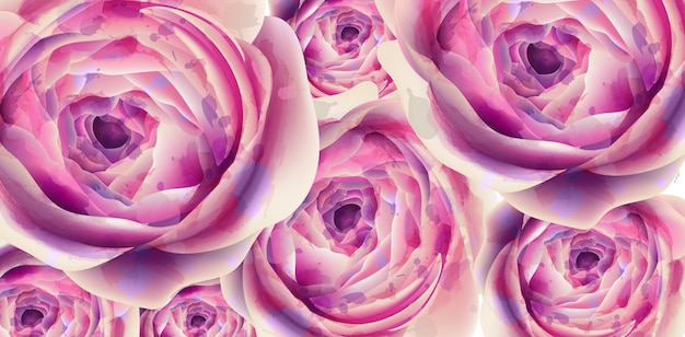 Aquarelle de bannière de fleurs d'été