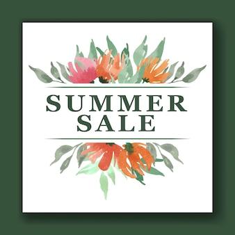 Aquarelle de bannière tropicale de vente d'été