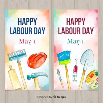 Aquarelle des bannières de la fête du travail
