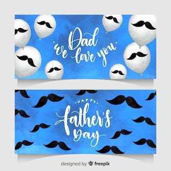 Aquarelle des bannières de fête des pères