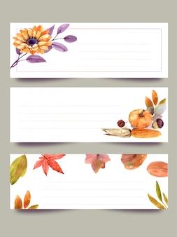 Aquarelle, bannières, fleurs d'automne