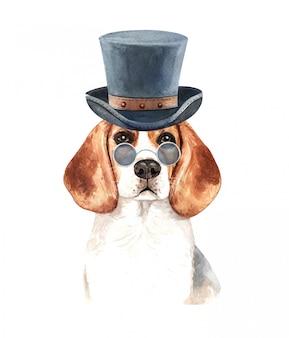 Aquarelle beagle avec lunettes de soleil et chapeau haut de forme.