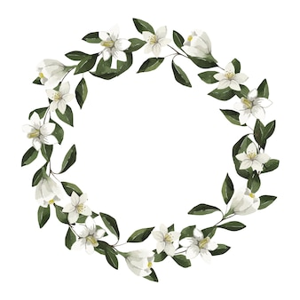 Aquarelle beau cadre avec des fleurs blanches et des feuilles