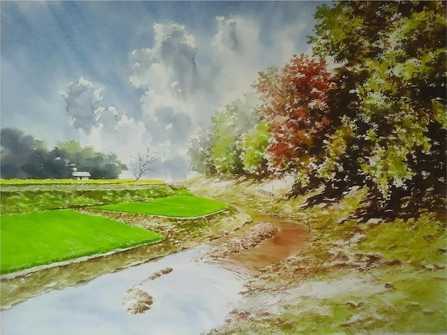 Aquarelle beau lac et paysage de nature verte