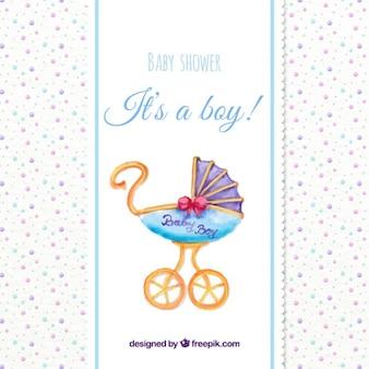 Aquarelle bébé carte de douche avec un buggy millésime