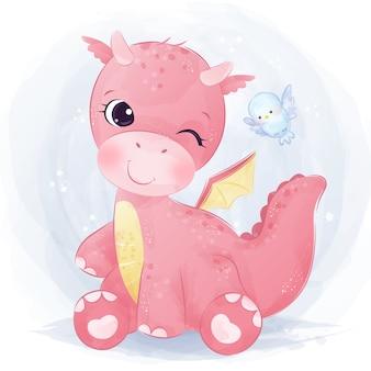 Aquarelle de bébé dragon mignon