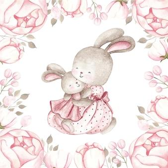 Aquarelle bébé lapin et maman avec cadre fleur