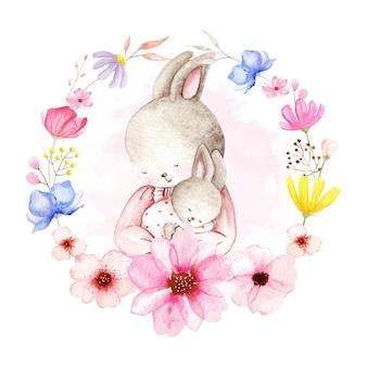 Aquarelle bébé lapin et maman avec une couronne de fleurs sauvages