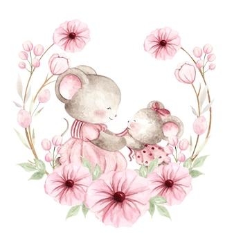 Aquarelle bébé souris et maman avec une couronne de fleurs rose