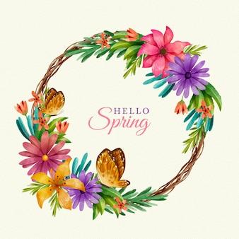 Aquarelle Belle Cadre Floral De Printemps Vecteur gratuit