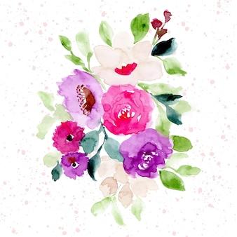 Aquarelle de belle composition florale