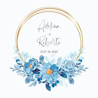Aquarelle de belle couronne florale bleue avec cadre doré