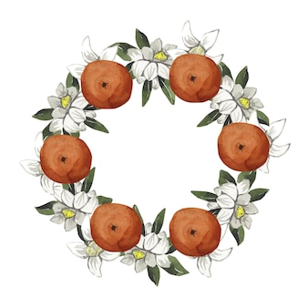 Aquarelle belle couronne avec des oranges et des fleurs blanches