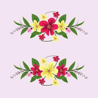 Aquarelle de belles fleurs et feuilles
