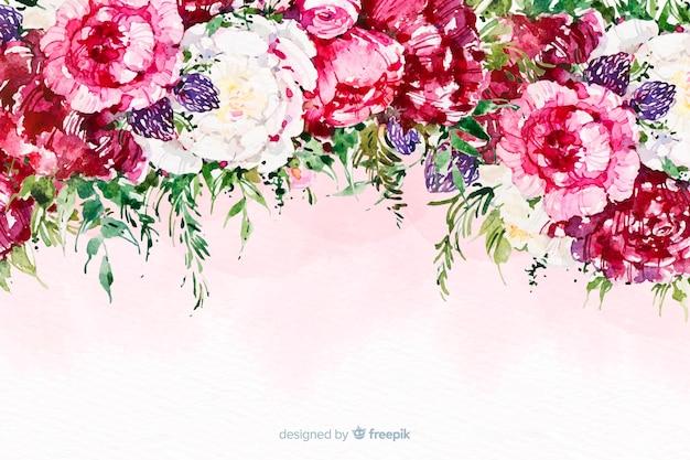 Aquarelle de belles fleurs fond coloré