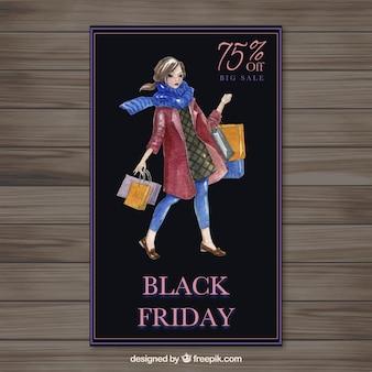 Aquarelle black friday bannière