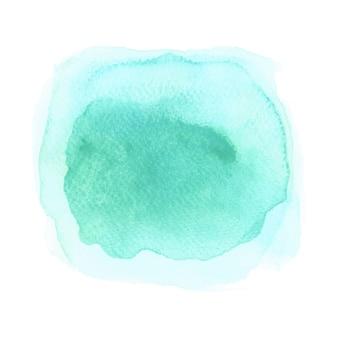 Aquarelle bleue et verte sur fond blanc
