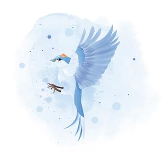 Aquarelle de bluebird de montagne avec fleur.