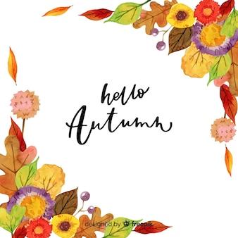 Aquarelle bonjour automne lettrage de fond