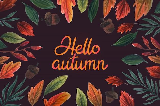 Aquarelle bonjour lettrage d'automne