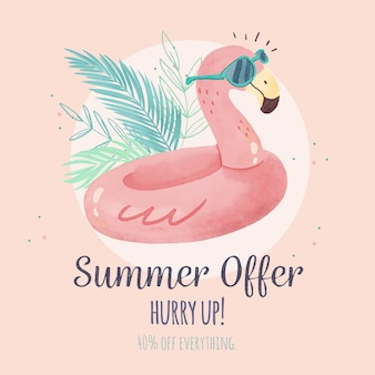 Aquarelle bonjour soldes d'été flamingo floatie