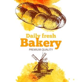 Aquarelle de boulangerie et fond de croquis. illustration vintage dessinée à la main. conception de paquet