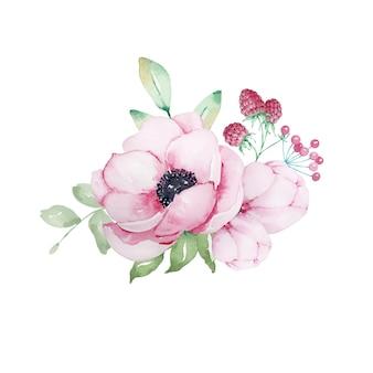 Aquarelle bouquet de fleurs d'anémones roses