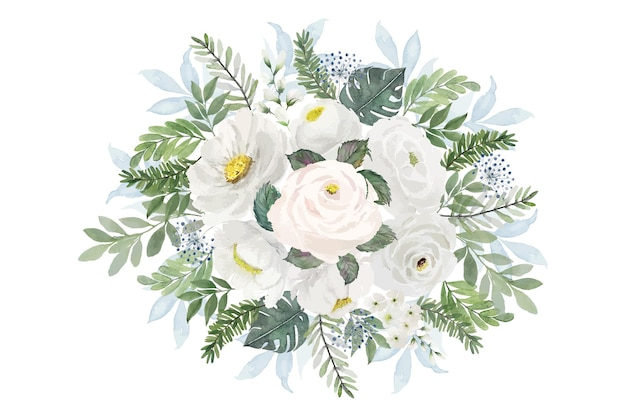 Aquarelle de bouquet de fleurs blanches vintage
