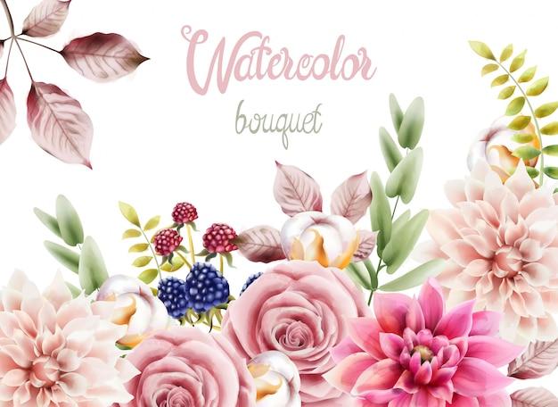 Aquarelle bouquet de fleurs et feuilles