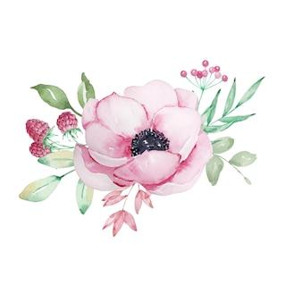 Aquarelle bouquet de fleurs de fleurs d'anémones roses