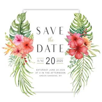 Aquarelle, bouquet de fleurs d'hibiscus avec la carte de date