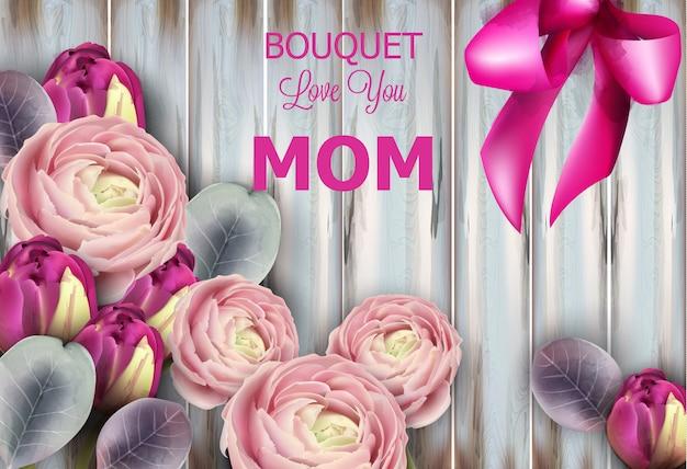 Aquarelle de bouquet de fleurs roses