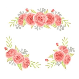 Aquarelle bouquet de roses de pêche