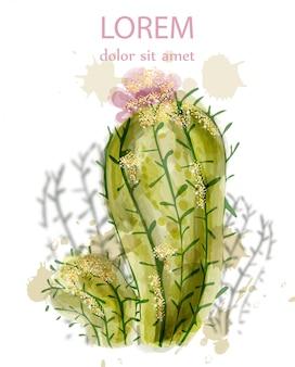 Aquarelle de cactus isolé