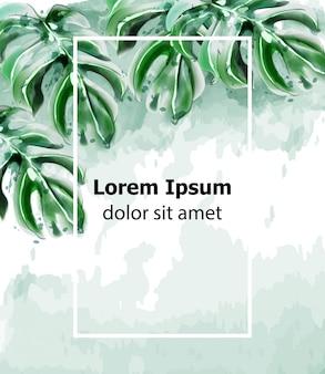 Aquarelle de cadre de carte feuilles de palmier